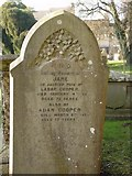 ST8992 : Jane Cooper gravestone at St Mary's Tetbury. by Paul Best