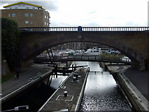 TQ3681 : Commercial Road lock and Limehouse Basin by ceridwen