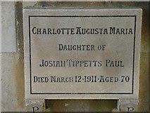 ST8992 : Charlotte Paul gravestone St Mary's Tetbury. by Paul Best