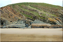 SM8422 : Inclined strata above shoreline, Pwll March, Newgale by Andy F