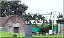 J4944 : Downpatrick Hospital from the graveyard of the Non-Subscribing Presbyterian Church in Stream Street by Eric Jones