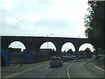 SO8455 : Railway viaduct over A449 by norman hyett