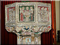 TG1020 : St Mary's church - seven sacraments font (detail) by Evelyn Simak