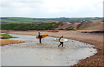 SW5842 : Surfers wading the Red River at Godrevy by Andy F