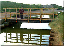 SW5842 : Footbridge across the Red River at Godrevy by Andy F