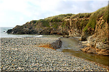 SW5842 : The Red River discharging into the sea at Godrevy by Andy F