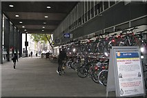 TQ2982 : Cycle parking, Euston Station Colonnade by Robin Stott