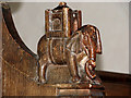 TG1835 : All Saints church - elephant and castle bench end by Evelyn Simak