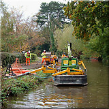 SK0418 : Towpath maintenance, Trent and Mersey Canal by Roger  Kidd