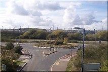 TQ6174 : Roundabout near Ebbsfleet Station by David Anstiss