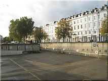 TQ2978 : Looking across the playground at Pimlico Academy into Lupus Street by Basher Eyre