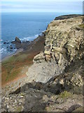 SX1395 : Cliffs above The Strangles by Philip Halling