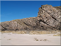 NC3969 : Rock Face on Balnakeil Beach by Clive Nicholson