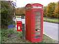 TM2564 : Saxtead Green Postbox & Telephone Box by Geographer