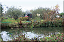SP3365 : An allotment shed beside the River Leam by Andy F