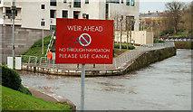 "J2764 : ""Weir ahead"" sign, Lisburn by Albert Bridge"