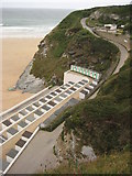 SW8162 : Road down to Tolcarne Beach, Newquay by Philip Halling