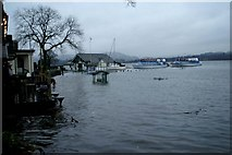 NY3703 : Flooded pier buildings at Waterhead by David Long