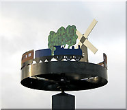 TM1686 : Tivetshall village sign (close-up) by Evelyn Simak