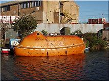 TQ2282 : Oil platform escape pod  . . on the canal! by David Hawgood
