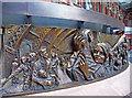 TQ3082 : Frieze round The Meeting Place sculpture, St Pancras by Christine Matthews