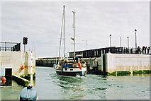 SC2484 : Vessel leaving lock gates, Peel Harbour by Donald MacDonald