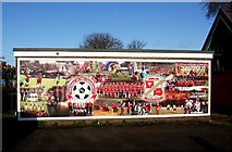SU1585 : Football in the Community mural, The County Ground by P L Chadwick