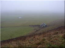 SK1462 : Pond and barn on a foggy morning by Peter Barr