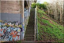 J3773 : The Comber Greenway steps, Belfast by Albert Bridge