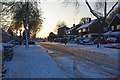TQ2735 : Evening sun on the snow, Arden Road, Crawley by Robin Webster