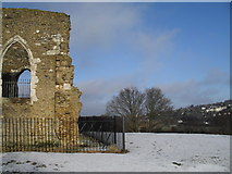 SU9948 : Footprints in the snow on top of St Catherine's Chapel by Basher Eyre