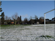 SU9948 : Looking towards Shalford Road from the goalposts in the recreation ground by Basher Eyre