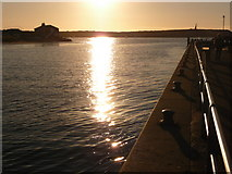 SZ1891 : Mudeford: Christmas Day sun reflected on The Run by Chris Downer