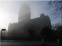SJ3589 : The Anglican Cathedral in the fog by John S Turner