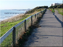 SZ1191 : Boscombe: white fence along the cliff top by Chris Downer