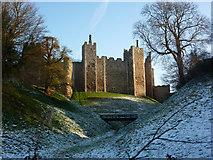 TM2863 : Framlingham Castle and moat by Andrew Hill