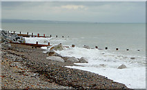 TQ1602 : Beach with groynes at Worthing, West Sussex by Roger  Kidd