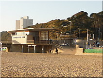 SZ1191 : Boscombe: pier building and path up the East Cliff by Chris Downer