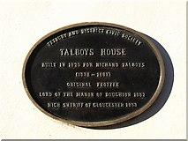 ST8993 : Plaque, Talboys House, Tetbury by Derek Harper