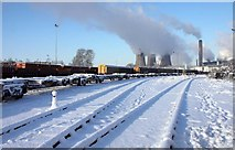 SU5290 : Snow in Didcot rail yard by Steve Daniels