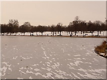 TQ2780 : Hyde Park: view across the frozen Serpentine by Chris Downer