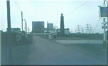TR0916 : Dungeness Nuclear Power Station & old lighthouse in 1972 by John Baker