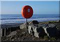 SN5883 : Lifebuoy, Clarach south beach by Nigel Brown