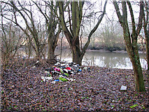 TG2407 : Flytip by the river by Evelyn Simak