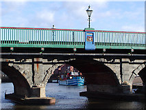 SK7954 : Bridge detail and barge by Peter Langsdale