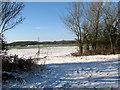 TM2796 : Snowy fields west of Green Lane by Evelyn Simak