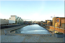 TQ3283 : Looking north at City Road Basin, Regents Canal by Andy F