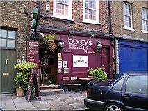 TQ3680 : Bootys Bar, Limehouse, London by canalandriversidepubs co uk
