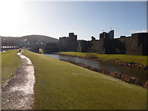 ST1587 : Caerphilly: path around eastern side of castle by Chris Downer