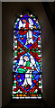 TL8786 : All Saints church - stained glass in tower lancet window by Evelyn Simak